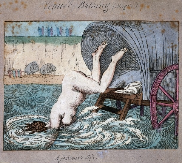 L0017751 A woman diving off a bathing wagon in to the sea. Coloured e Credit: Wellcome Library, London. Wellcome Images images@wellcome.ac.uk http://wellcomeimages.org Venus's Bathing (Margate) A woman diving off a bathing wagon in to the sea Hand-coloured etching 1790 By: Thomas RowlandsonPublished:  -  Copyrighted work available under Creative Commons by-nc 2.0 UK, see http://wellcomeimages.org/indexplus/page/Prices.html