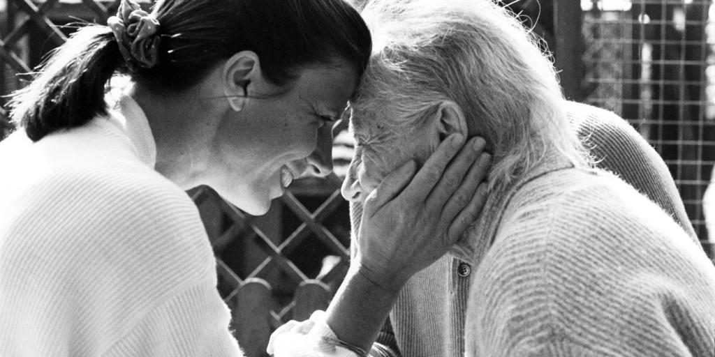 Alzheimer's patient with daughter. Zurich, Switzerland.